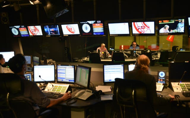 John Humphrys and Evan Davis during Today's first broadcast at its new home in New Broadcasting House