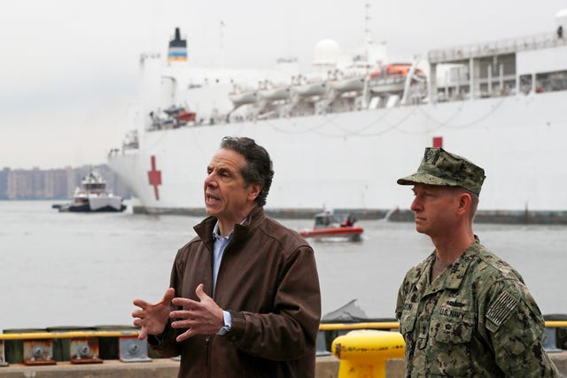Andrew Cuomo after the arrival of the USNS Comfort