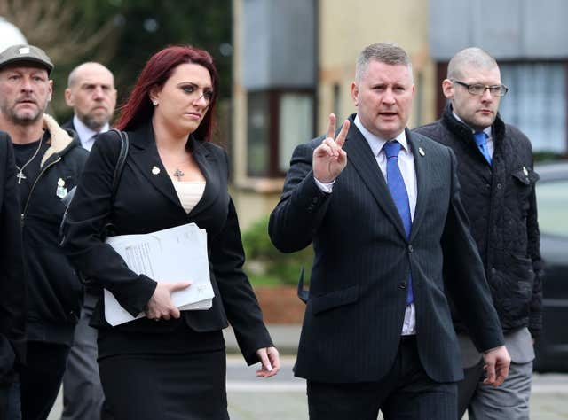 Leader and deputy leader of Britain First, Paul Golding and Jayda Fransen (Gareth Fuller/PA)