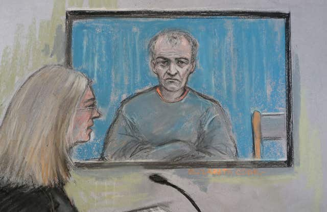 Court artist sketch of Barry Bennell appearing via video link at South Cheshire Magistrates' Court (Elizabeth Cook/PA)