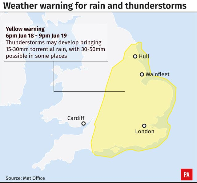 Weather warning for rain and thunderstorms