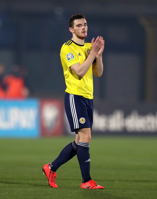 Andy Robertson acknowledged the fans after the game