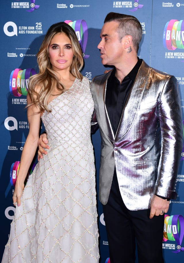 Ayda Field and Robbie Williams at the gala night for Take That's The Band musical