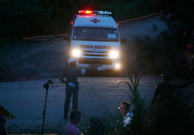 An ambulance leaves the site