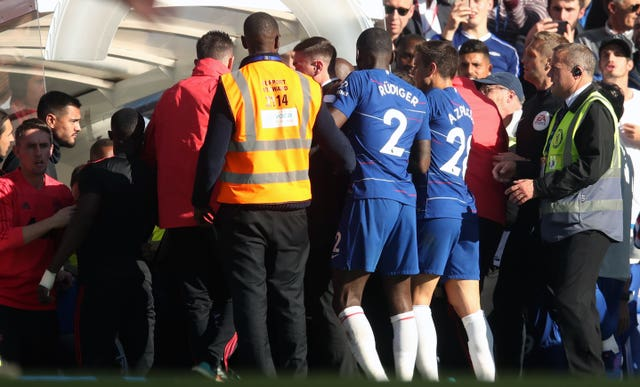 Jose Mourinho was involved in a touchline flare-up at former club Chelsea.