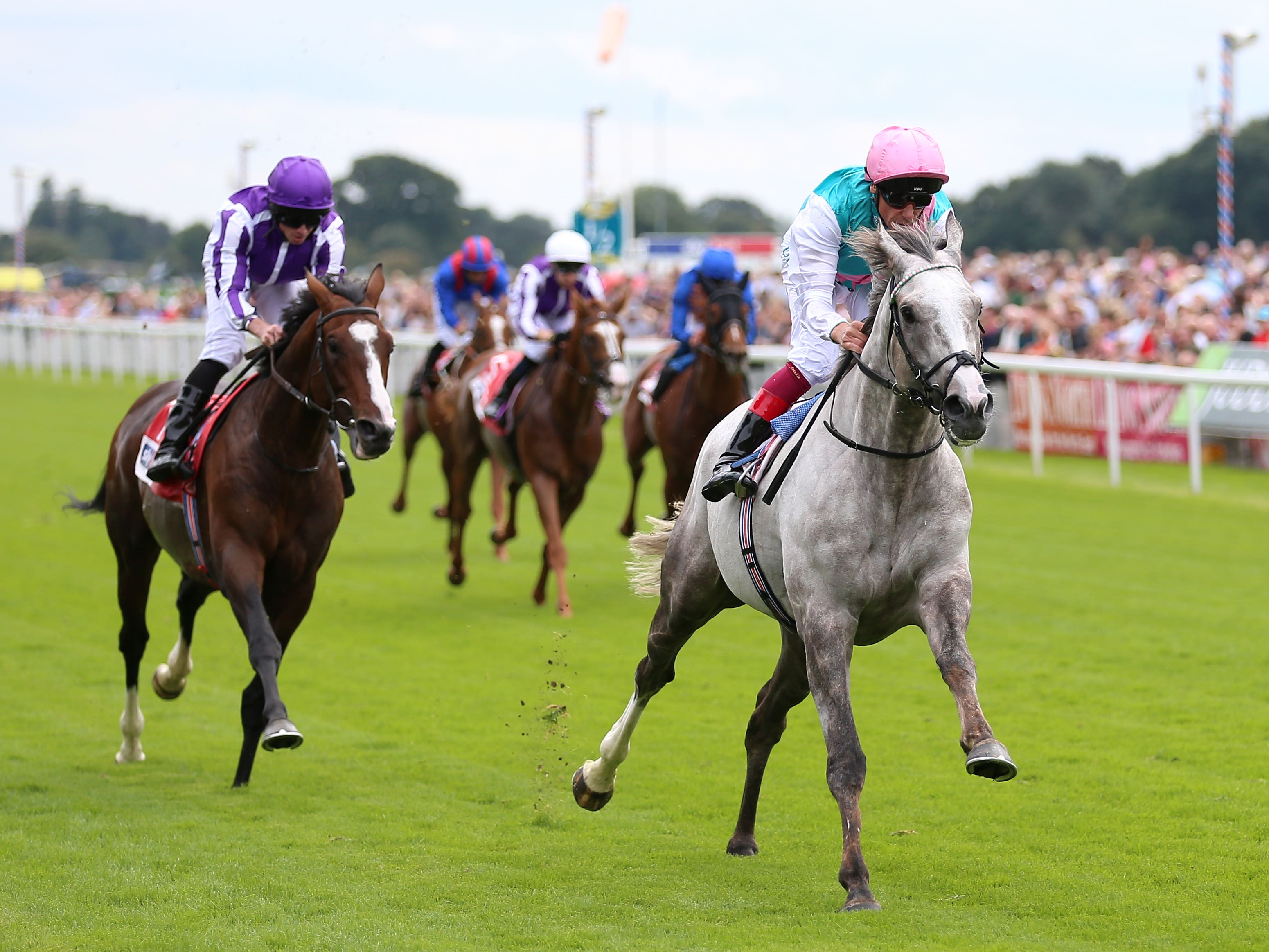 Logician (right) wins the Great Voltigeur Stakes at York (Nigel French/PA)