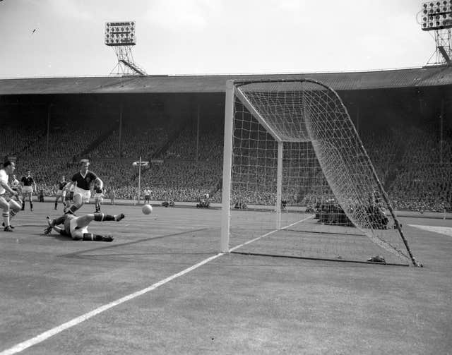 Nat Lofthouse, left, scores in the 1958 FA Cup final