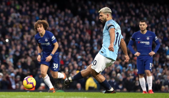Sergio Aguero completed his hat-trick from the penalty spot as City beat Chelsea 6-0 to move back to the Premier League summit