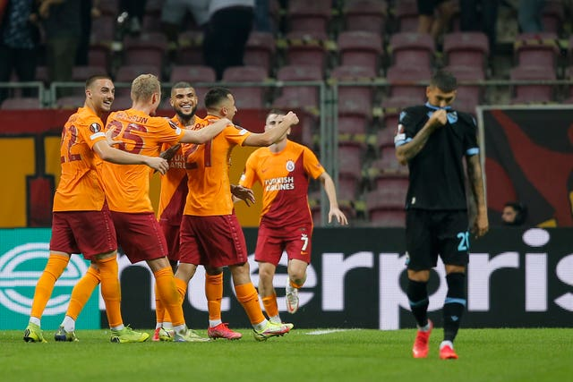 Galatasaray players celebrate their opening goal