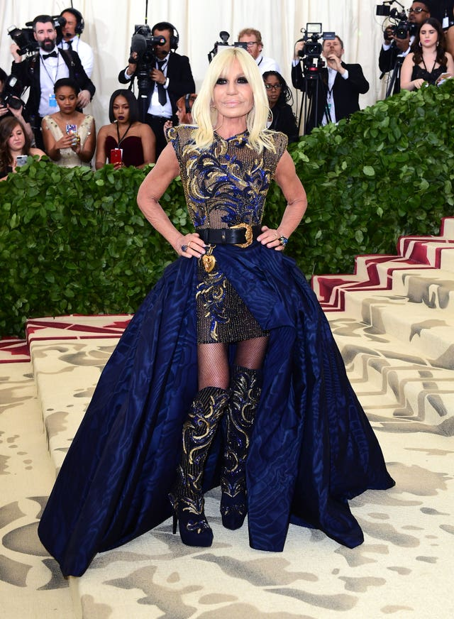 Donatella Versace attending the Metropolitan Museum of Art Costume Institute Benefit Gala 2018 in New York, USA (Ian West/PA)