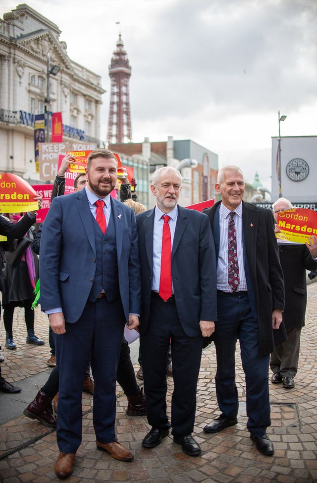Labour Party leader Jeremy Corbyn with parliamentary candidate for Blackpool North and Cleveleys Chris Webb, left, and parliamentary candidate for Blackpool South Gordon Marsden in Blackpool