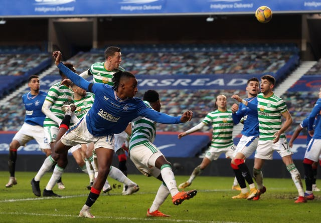 Celtic's Callum McGregor, centre top, scores the decisive own goal in Rangers' 1-0 win at Ibrox