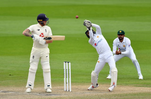 Pakistan's Mohammad Rizwan caught out Ben Stokes for nine in the second innings