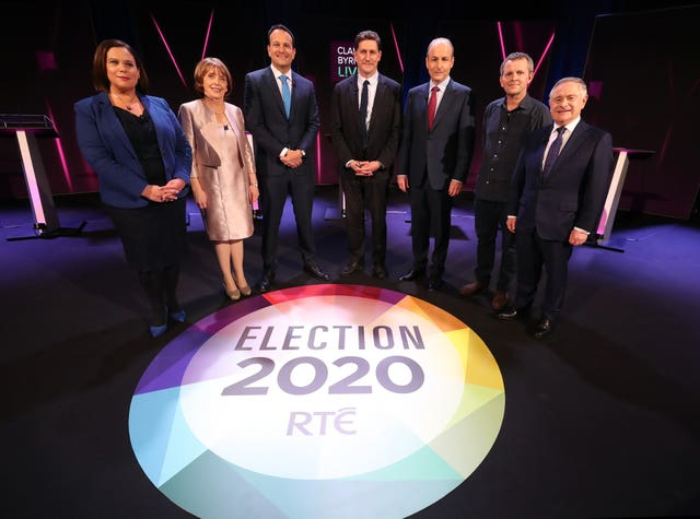 Party leaders take to the stage for the seven-way RTE leaders' debate at the National University of Ireland Galway campus