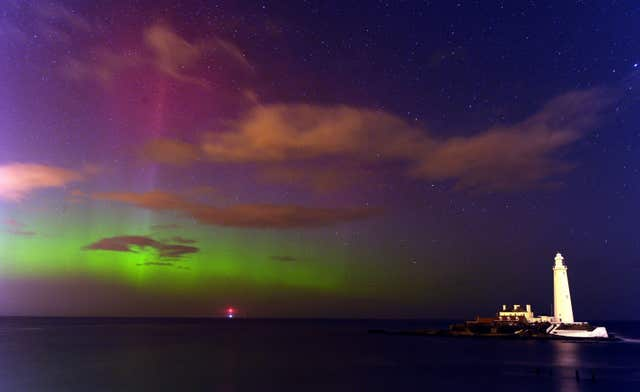 The northern lights over St Mary's Lighthouse and Visitor Centre, Whitley Bay, North Tyneside