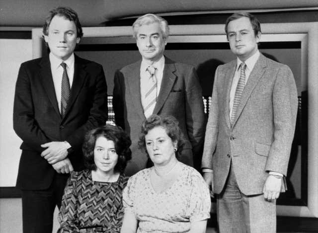 Front row, from left – Sue Tinson and Diana Edwards-Jones and back row, from left – Peter Sissons, Alastair Burnet and Martyn Lewis