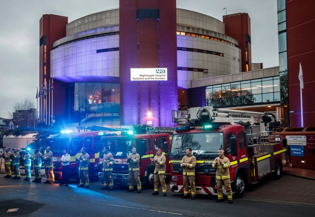 Members of the fire brigade outside the Nightingale Hospital at the Harrogate Convention Centre