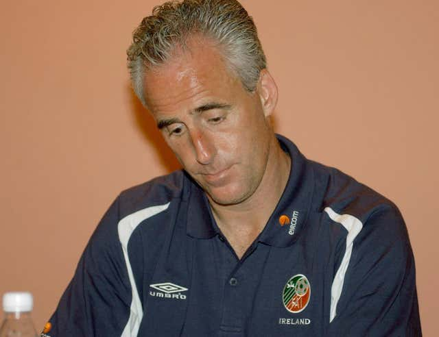 Republic of Ireland manager Mick McCarthy at a press conference at the Hyatt Hotel in Saipan
