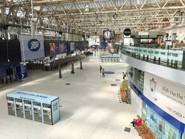 The concourse at London's Waterloo station was almost devoid of travellers
