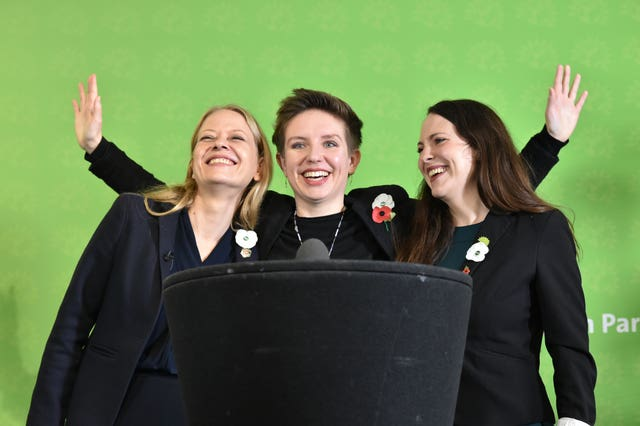 Green Party co-Leader Sian Berry (left) with colleagues Amelia Womack and Carla Denyer (Ben Birchall/PA)
