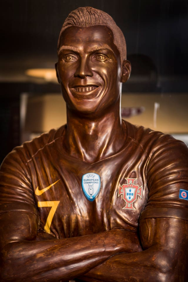 A life-size sculpture of football star Cristiano Ronaldo which was made entirely out of chocolate made by Portuguese chocolatier Jorge Cardoso