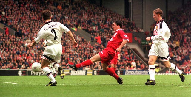 Robbie Fowler, centre, had two spells at Liverpool as a player