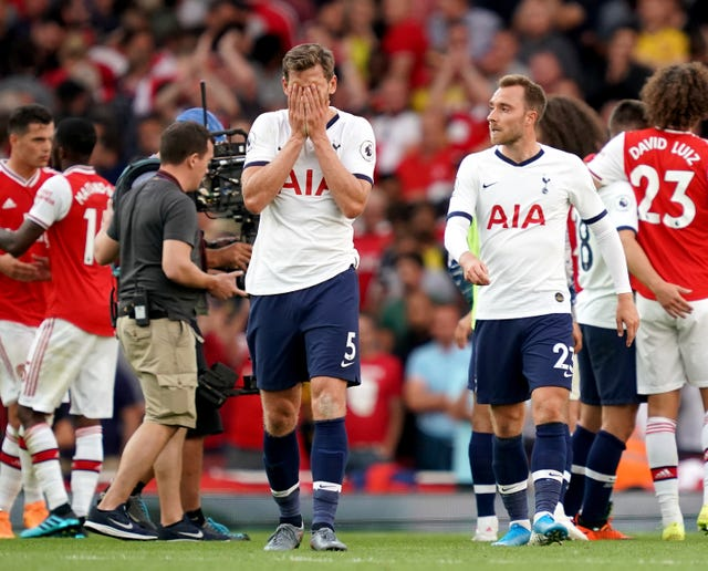 Vertonghen could not help Tottenham to a first league win at Arsenal since 2010.