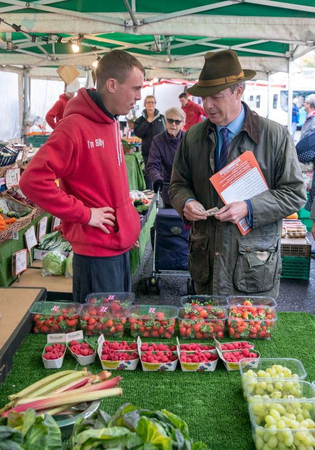 Nigel Farage at a fruit n' veg stall