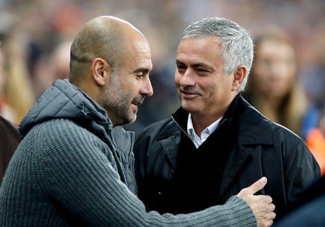 Pep Guardiola and Jose Mourinho were on opposite sides of the Manchester divide