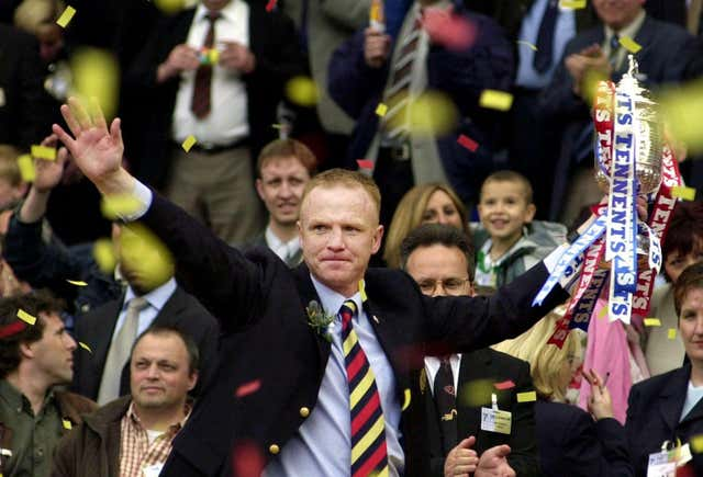 Rangers boss Alex McLeish celebrates winning the Scottish Cup final against Celtic