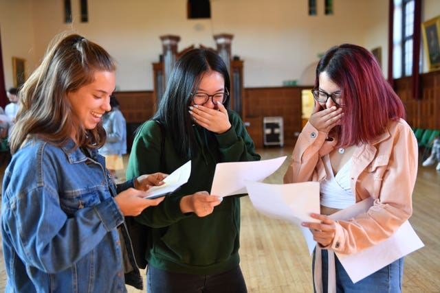 Students celebrate their A-level results at King Edward VI High School for Girls in Birmingham
