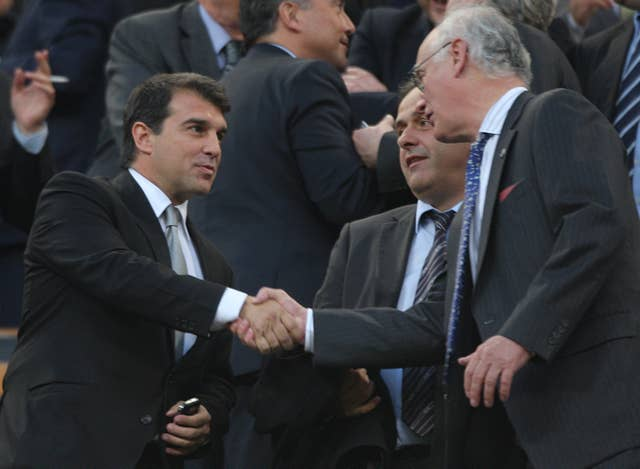 Joan Laporta (left) is running to be Barcelona president once again.