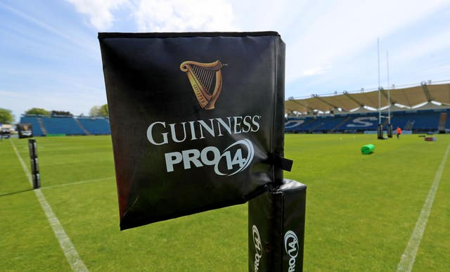 A Guinness PRO14 flag at the RDS Arena