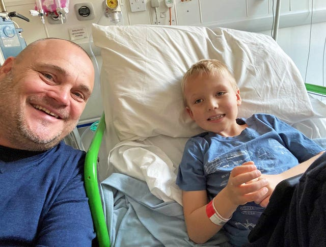 Comedian Al Murray with his six-year-old nephew Finley Relf who is battling a rare form of leukaemia (Al Murray/PA)