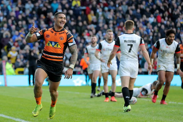 Peter Mata'utia celebrates as Castelford Tigers secure a 28-10 win over Toronto Wolfpack