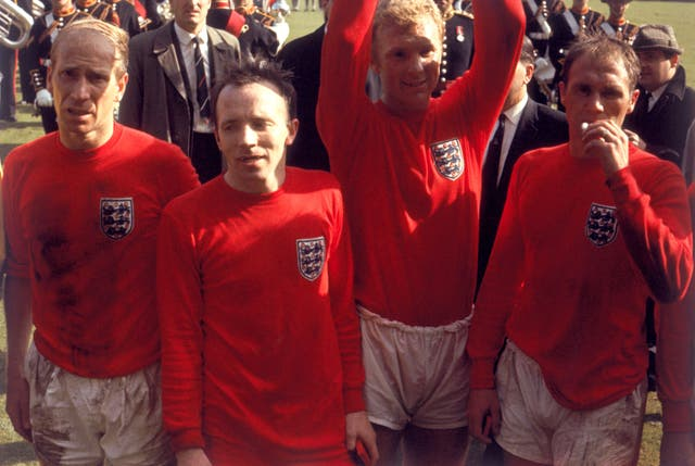 Bobby Charlton, Nobby Stiles, Bobby Moore and Ray Wilson with the coveted trophy in 1966
