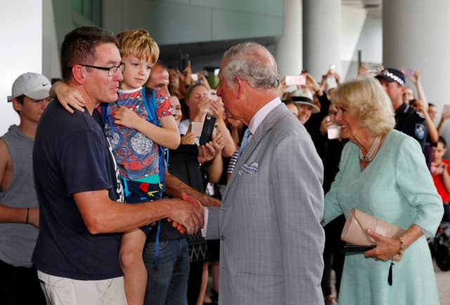 The Prince of Wales and Duchess of Cornwall arrive at Lady Cilento Children's Hospital (Phil Noble/PA)