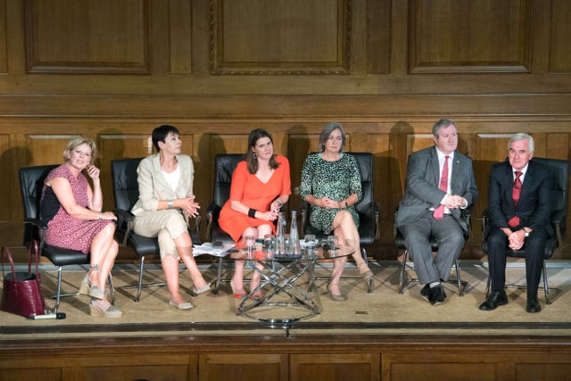 From left, Anna Soubry, Caroline Lucas, Jo Swinson, Liz Saville Roberts, Ian Blackford and John McDonnell during a meeting of a cross-party group of MPs at Church House, Westminster