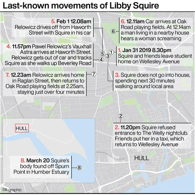 Last-known movements of Libby Squire