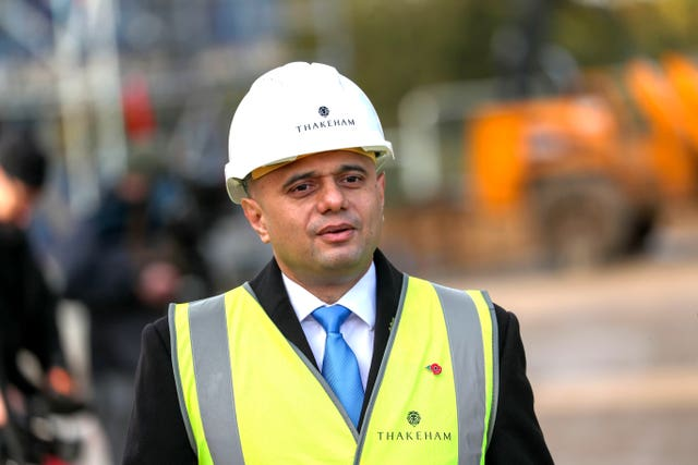 Chancellor Sajid Javid visited new-build homes on the Woodgate Housing Estate near Crawley, Sussex