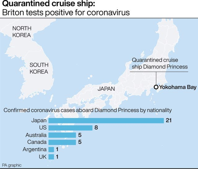 A British man is among 41 confirmed coronavirus cases aboard a quarantined cruise ship anchored off Japan