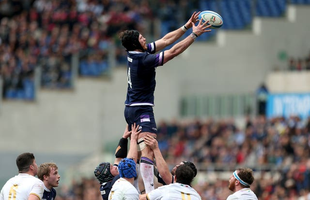 Swinson goes up for a line-out against Italy