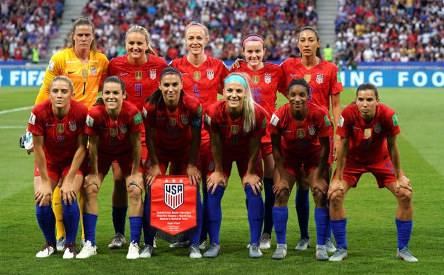 USA internationals Christen Press (top right) and Tobin Heath (bottom right) have joined Manchester United
