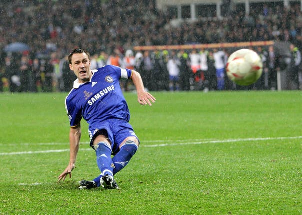 Chelsea's John Terry slips and misses his penalty in the 2008 Champions League final, allowing Manchester United to take the title
