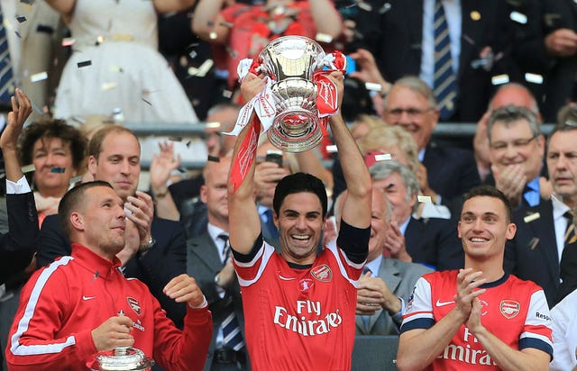 Arteta twice lifted the FA Cup with Arsenal, in both 2013/14 and 2014/15