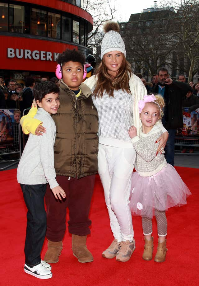 Katie Price with her children Junior (left), Harvey and Princess arriving at a celebrity screening of The Lego Movie at the Vue West End, Leicester Square, London. (Sean Dempsey/PA)