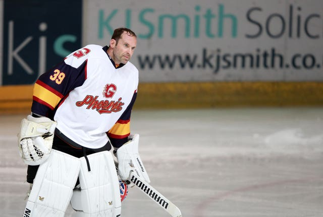 Former Chelsea and Arsenal goalkeeper Petr Cech made his Guildford Phoenix debut after joining the ice hockey team this week