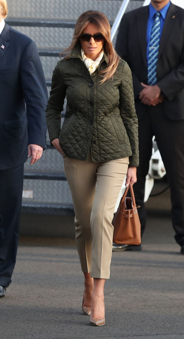 US First Lady Melania Trump arrives on Air Force One at Prestwick airport in Ayrshire, en route for Turnberry, where they are expected to stay over the weekend.