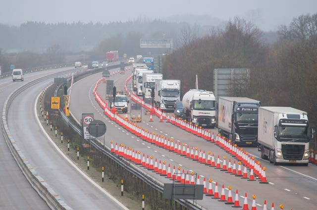 Freight lorries separated from other traffic on a Dover-bound section of the M20 motorway in Kent