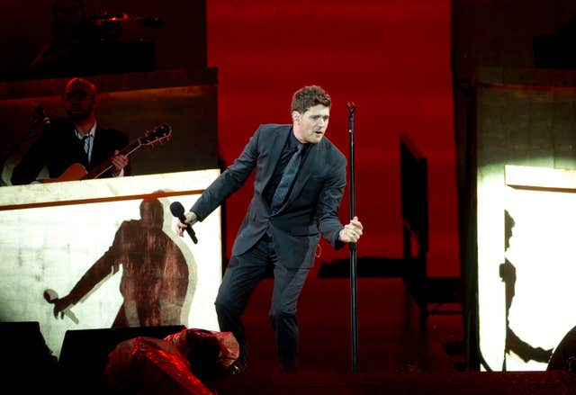 Michael Buble performing in Hyde Park